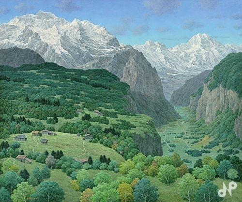 雪山と台地と谷間